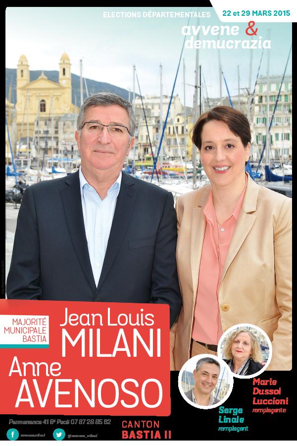 departementales affiche avenoso milani 600x900 - Elections départementales corse canton Bastia 2015