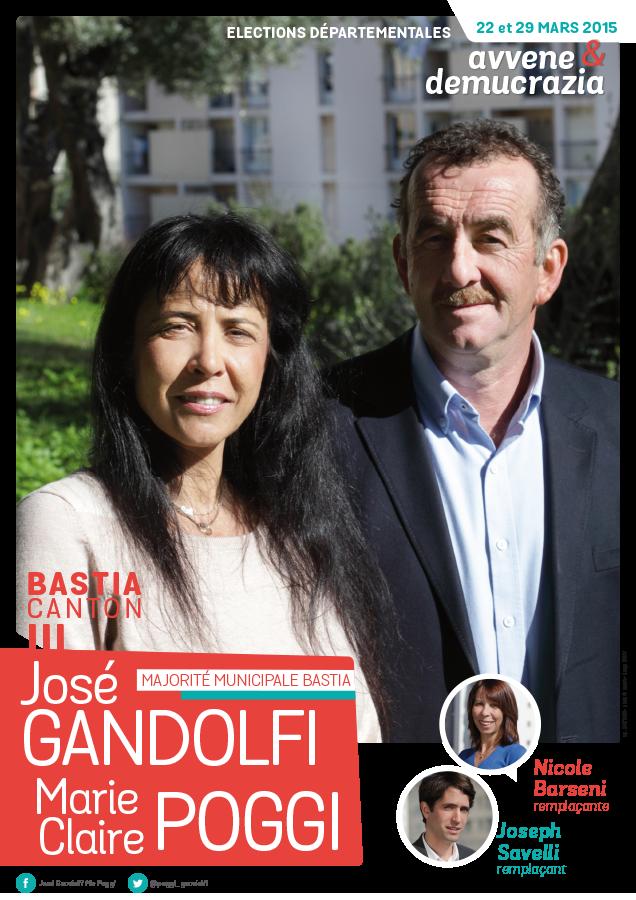 departementales affiche poggi gandolfi 636x900 - Elections départementales corse canton Bastia 2015