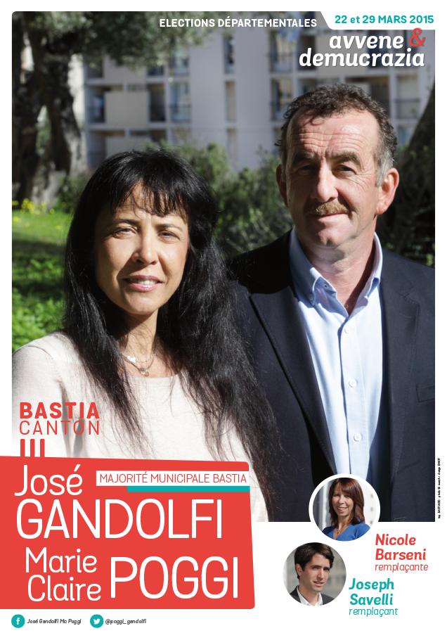 departementales affiche poggi gandolfi - Elections départementales corse canton Bastia 2015