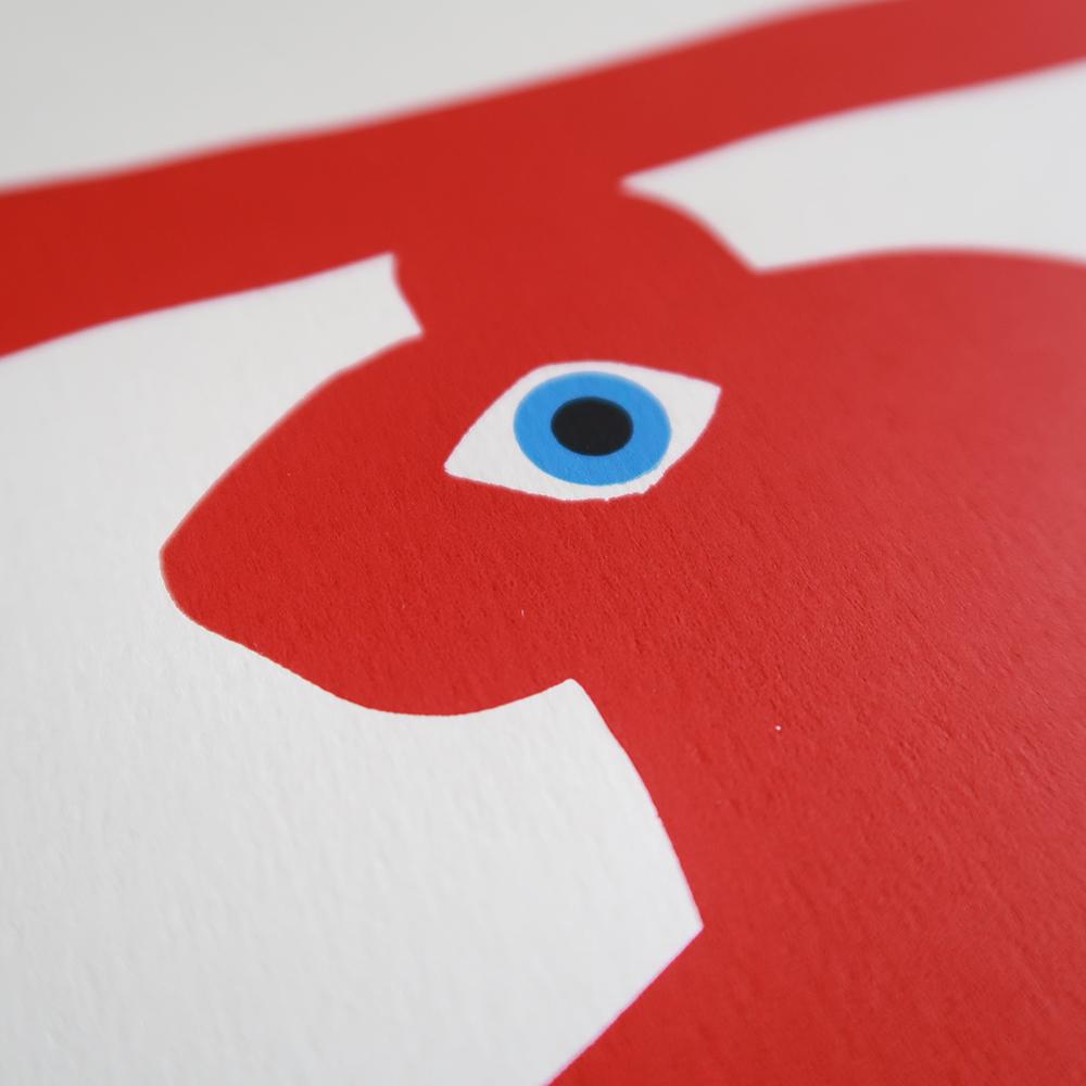 tigre rouge detail - Sérigraphie