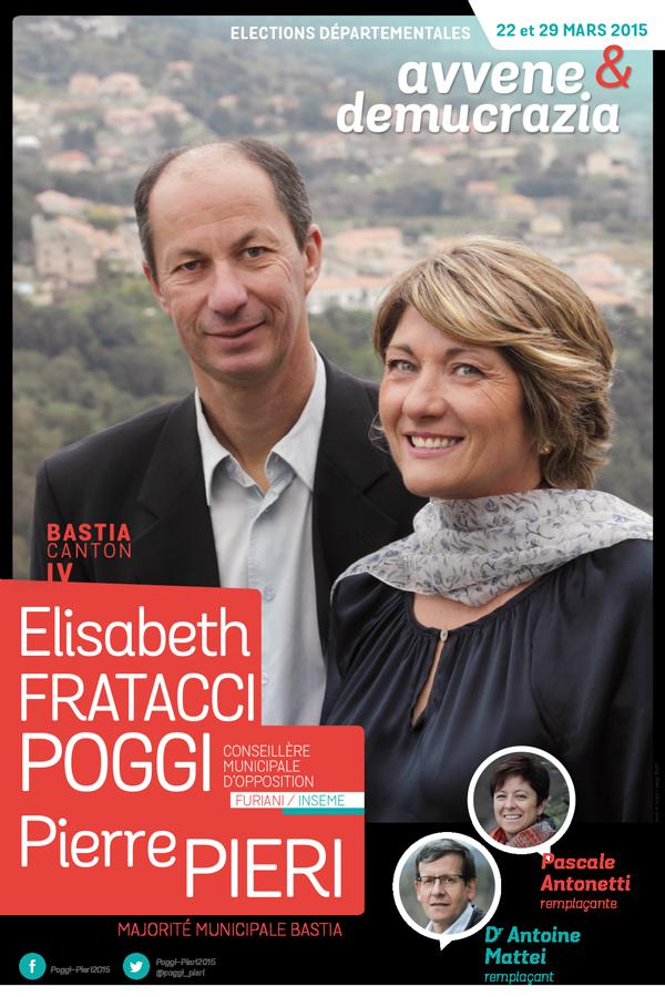 departementales 2015 affiche fratacci pieri - Elections départementales corse canton Bastia 2015