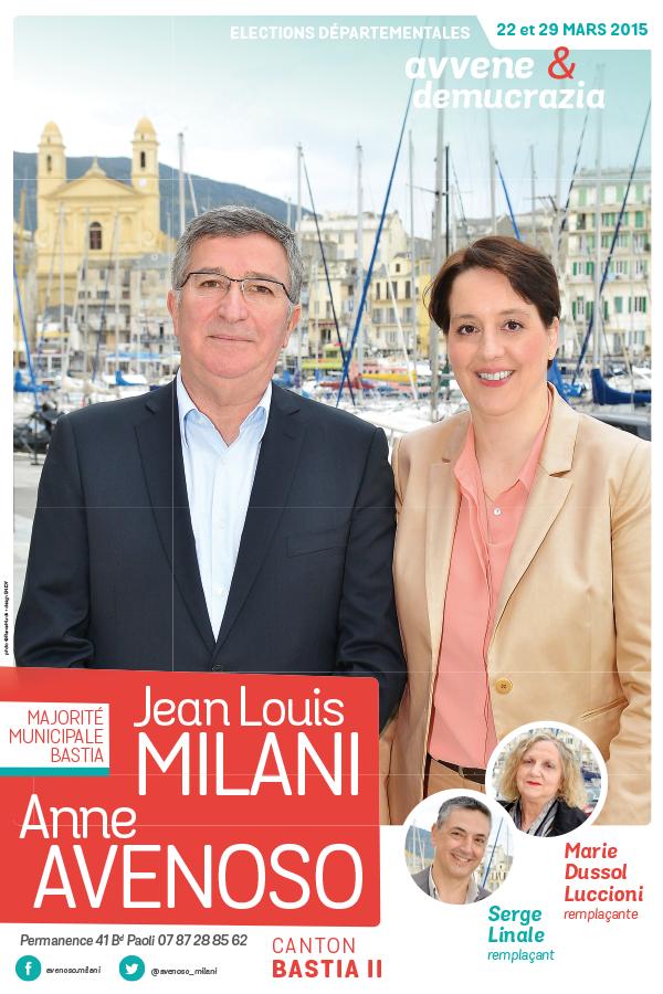 departementales affiche avenoso milani - Elections départementales corse canton Bastia 2015